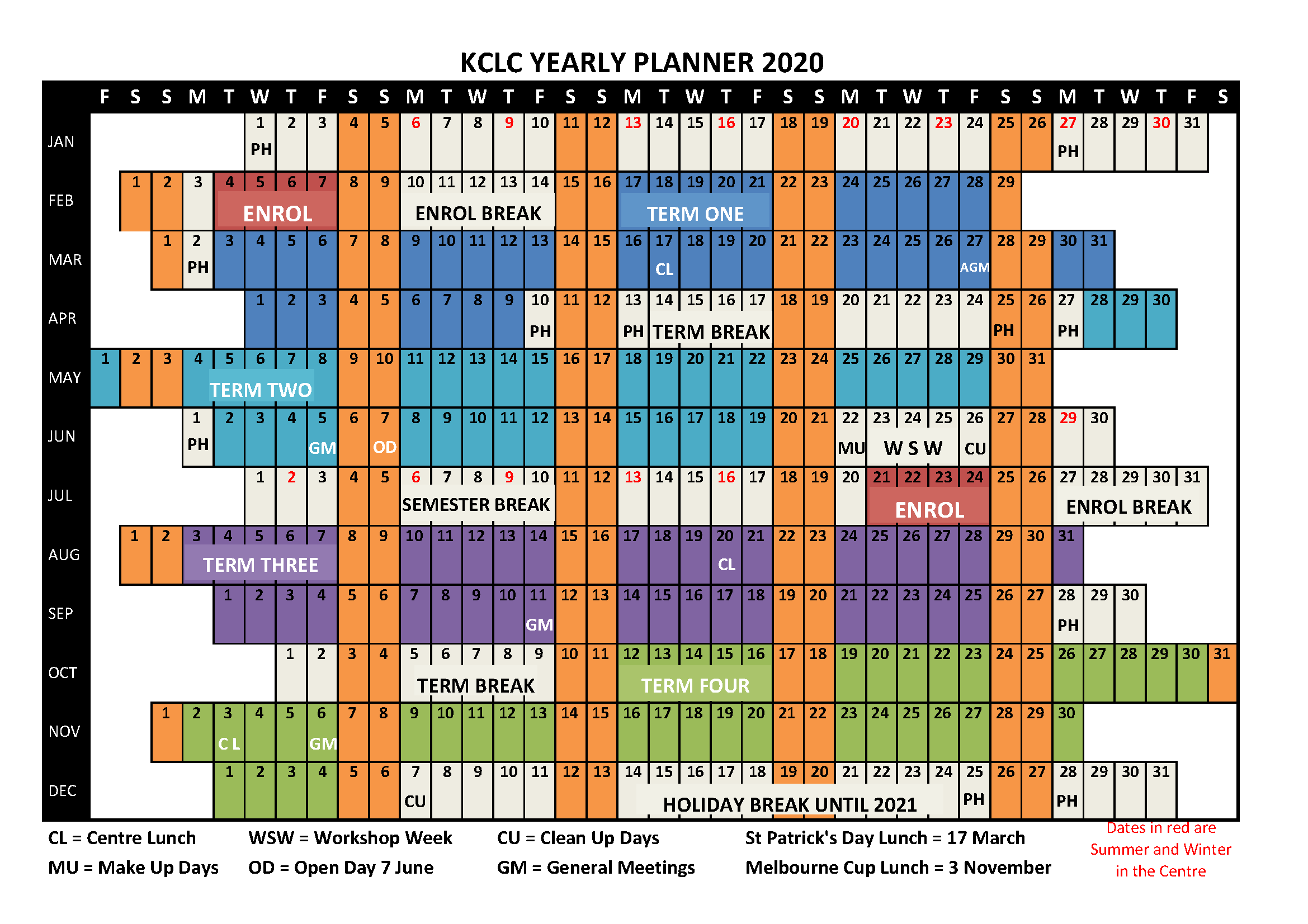KCLC 2020 Yearly Planner